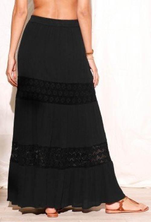 Dlouhá černá letní sukně s krajkou