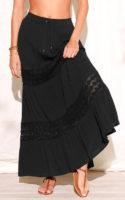 Dlouhá kreponová sukně s krajkou