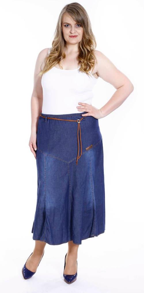 Dlouhá riflová sukně do gumy pro plnoštíhlé