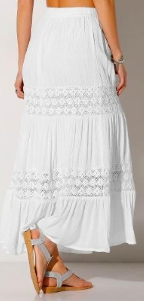 Dlouhá sukně s krajkovými vsadkami