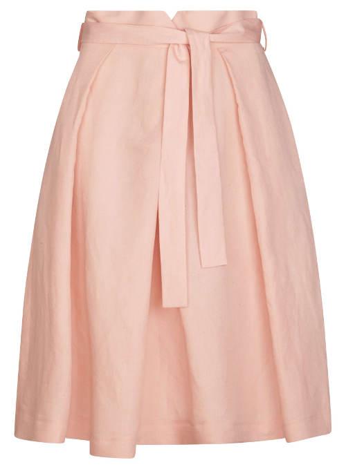 Korálová lněná společenská sukně