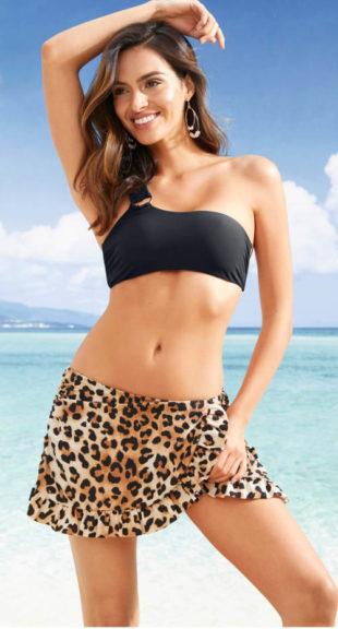 Koupací sukně s kalhotkami leopardí potisk