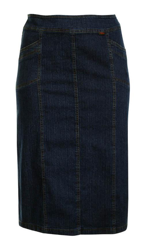Midi sukně pro plnoštíhlé tmavý denim
