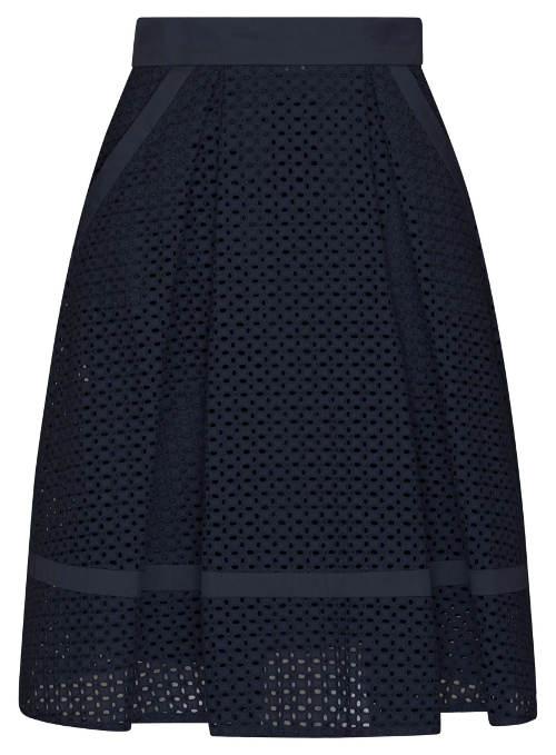 Modrá děrovaná dámská sukně