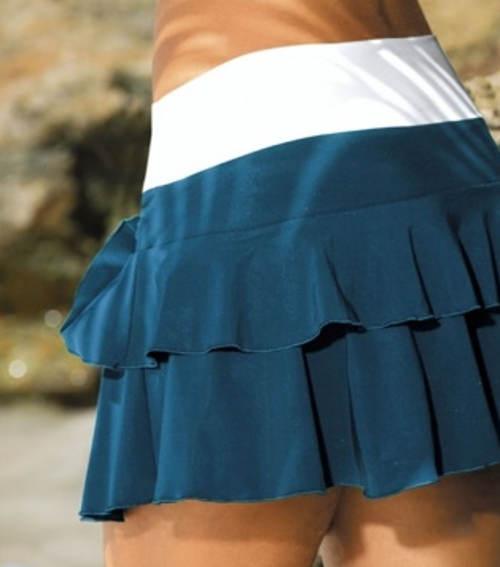 Modrá volánová minisukně na plavky