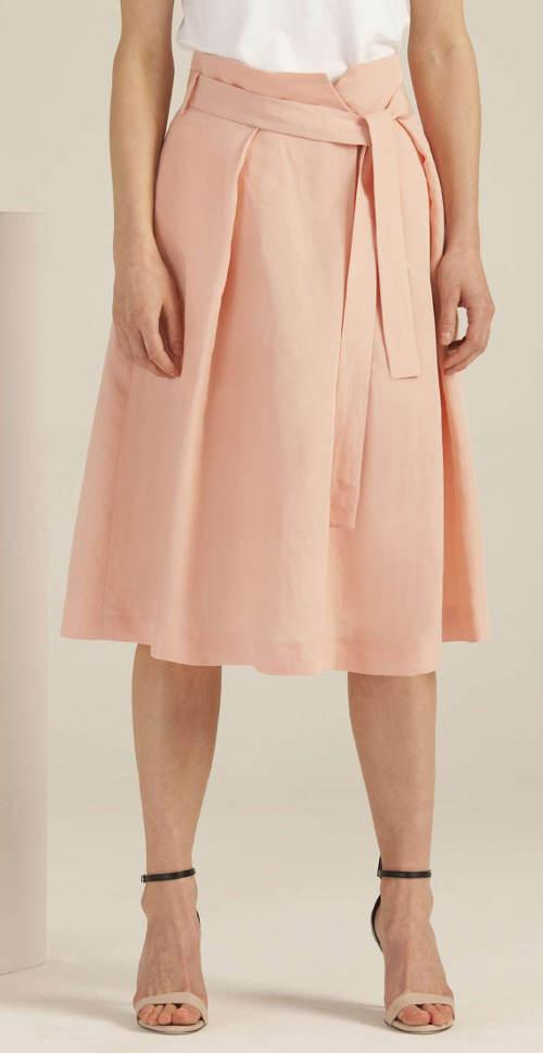 Růžová společenská midi sukně