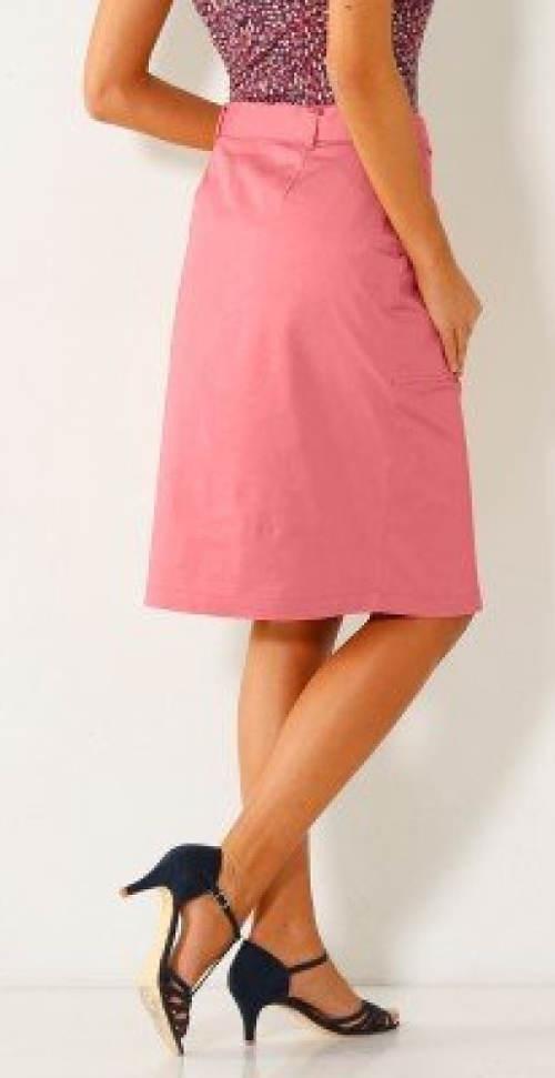 Růžová společenská sukně ke kolenům