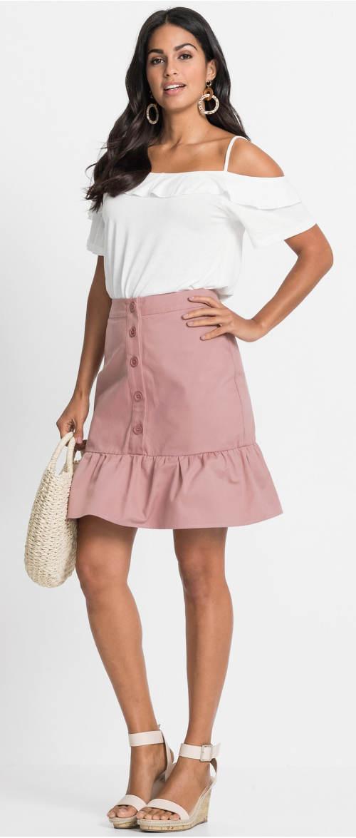 Růžová sukně s knoflíky