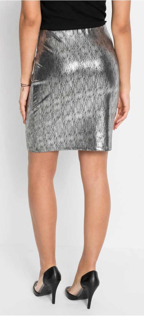 Lesklá stříbrná sukně