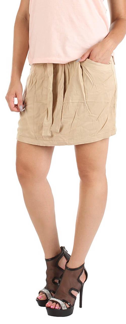 Béžová letní sukně s páskem na zavazování