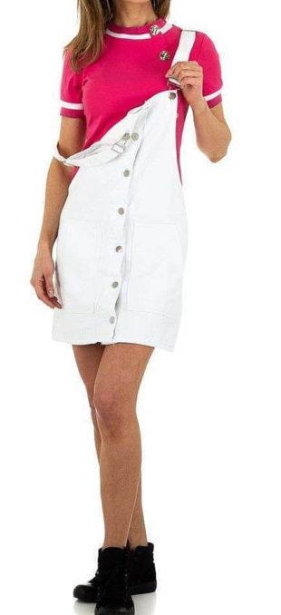 Bílá dámská sukně s laclem