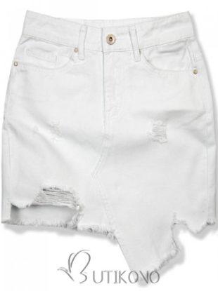 Bílá letní džínsová sukně s otrhaným spodním lemem