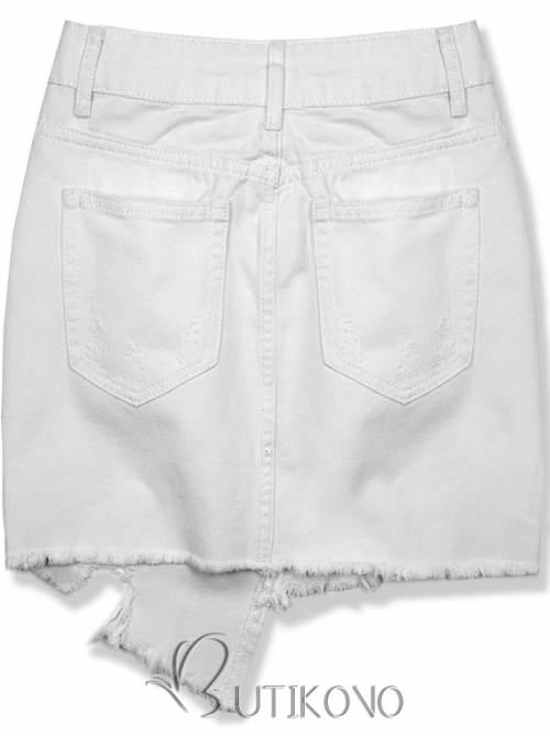 Bílá riflová mini sukně