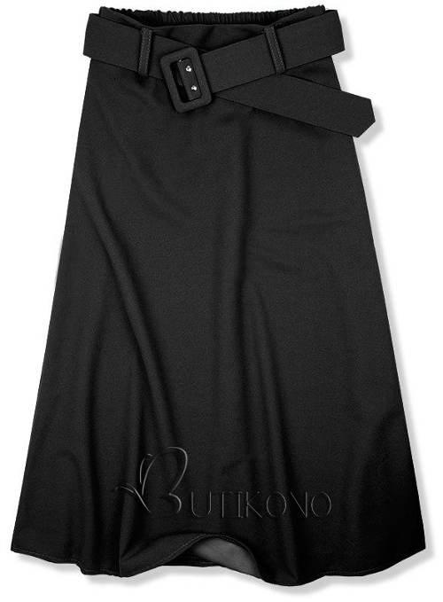 Černá midi sukně s opaskem