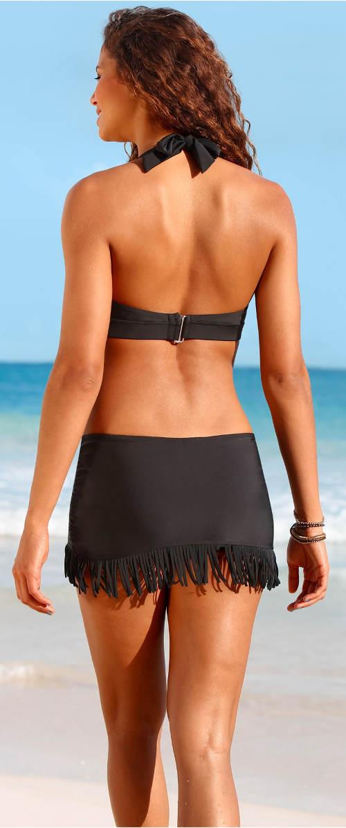 Černé dámské plavky se sukní