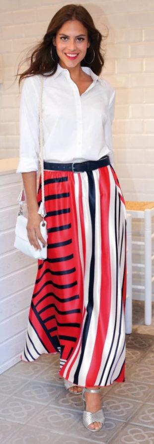 Dlouhá barevná saténová sukně