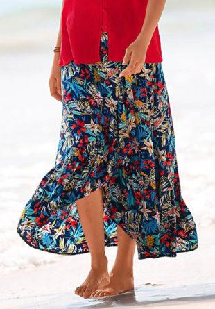 Dlouhá volánová sukně s květinovým potiskem