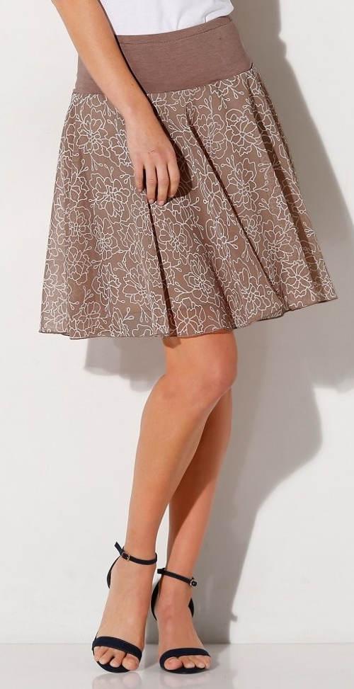 Hnědá květinová sukně s širokou gumou v pase