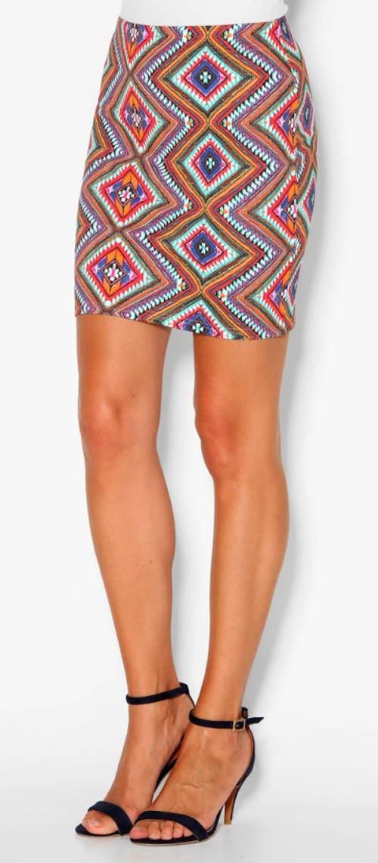 Letní mini sukně s geometrickým potiskem