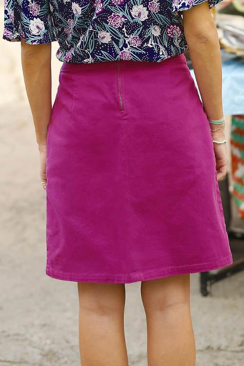 Purpurová džínová sukně