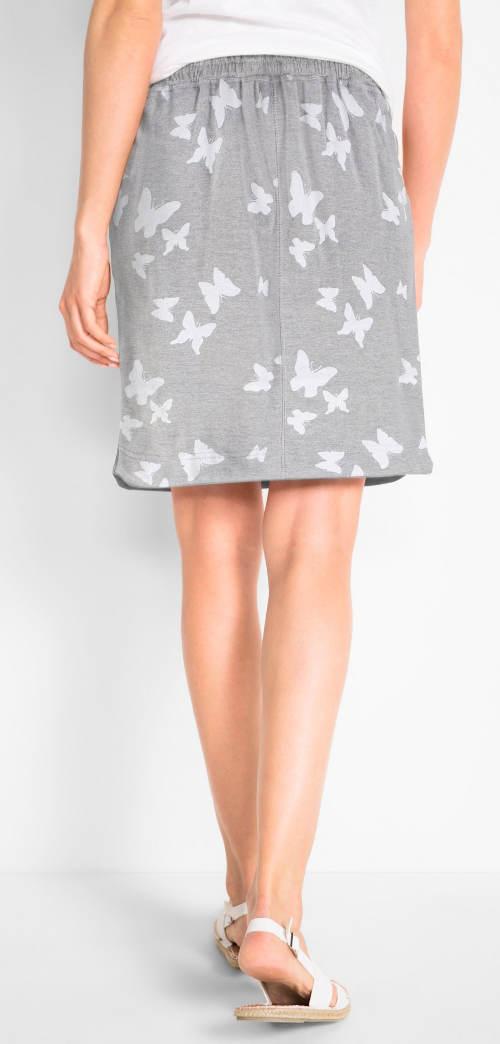 Šedá dámská sukně s motýly