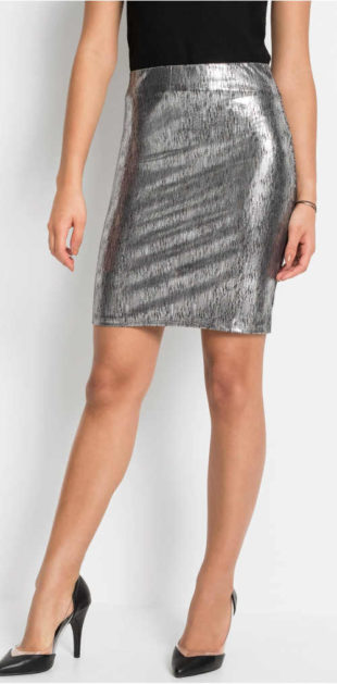 Stříbrná sukně v metalízovém vzhledu