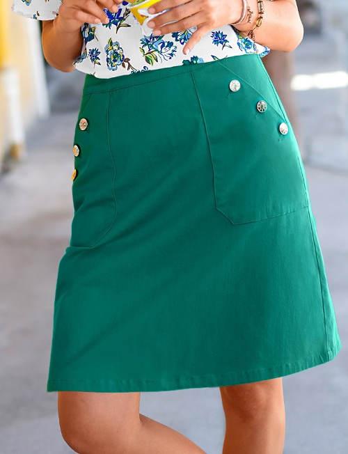 Sukně s velkými kapsami na knoflíky