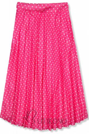 Tečkovaná růžová midi sukně