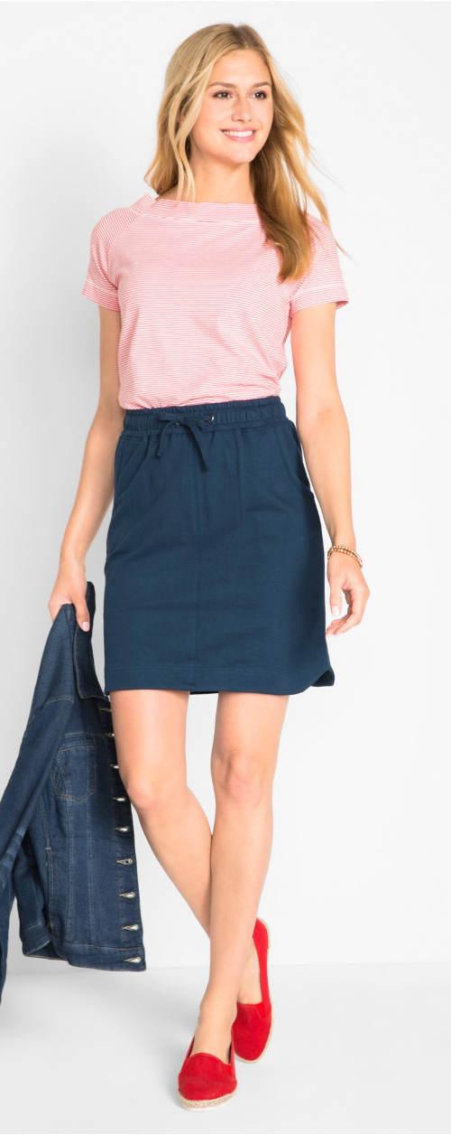 Tmavě modrá tepláková sukně