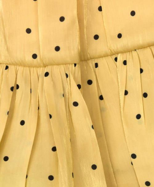 Žlutá volánová sukně s drobnými puntíky