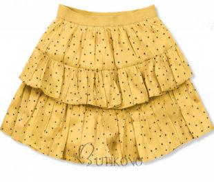 Žlutá vrstvená tečkovaná sukně