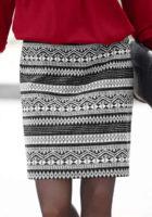 Černobílá dámská sukně s výrazným žakárovým etno vzorem