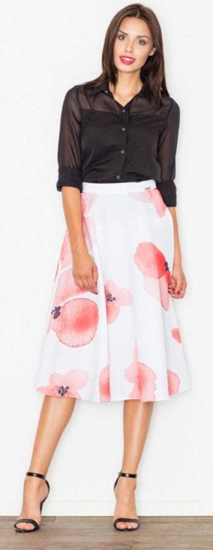 Bílá dámská sukně s velkými růžovými květy