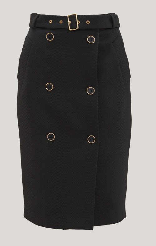 Černá  sukně s páskem a dvouřadým knoflíkovým zapínáním