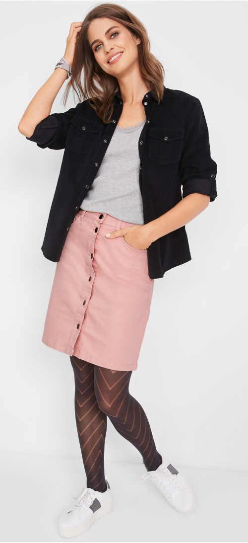 Růžová džínová sukně na podzim i zimu