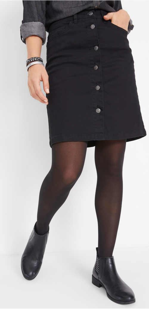 Černá dámská riflová sukně s knoflíky