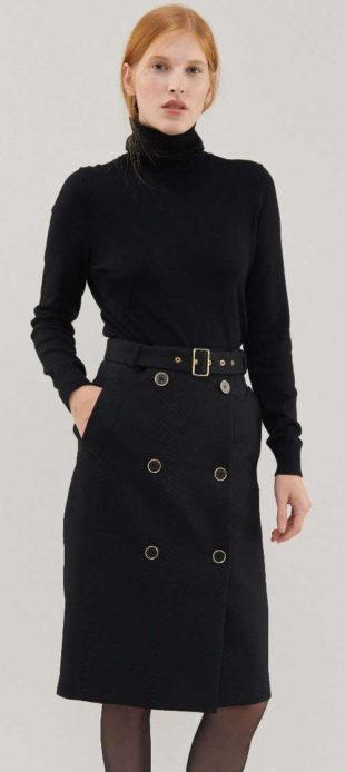 Černá pouzdrová společenská sukně Pietro Filipi