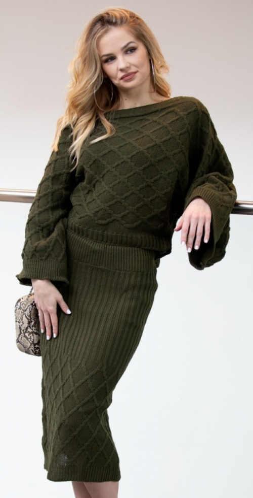 Dámský khaki svetr s pletenou sukni