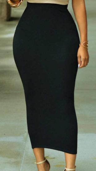 Dlouhá černá úplá maxi sukně Enluned