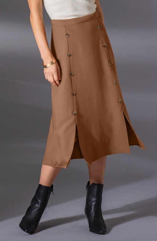 Hnědá dámská podzimní midi sukně
