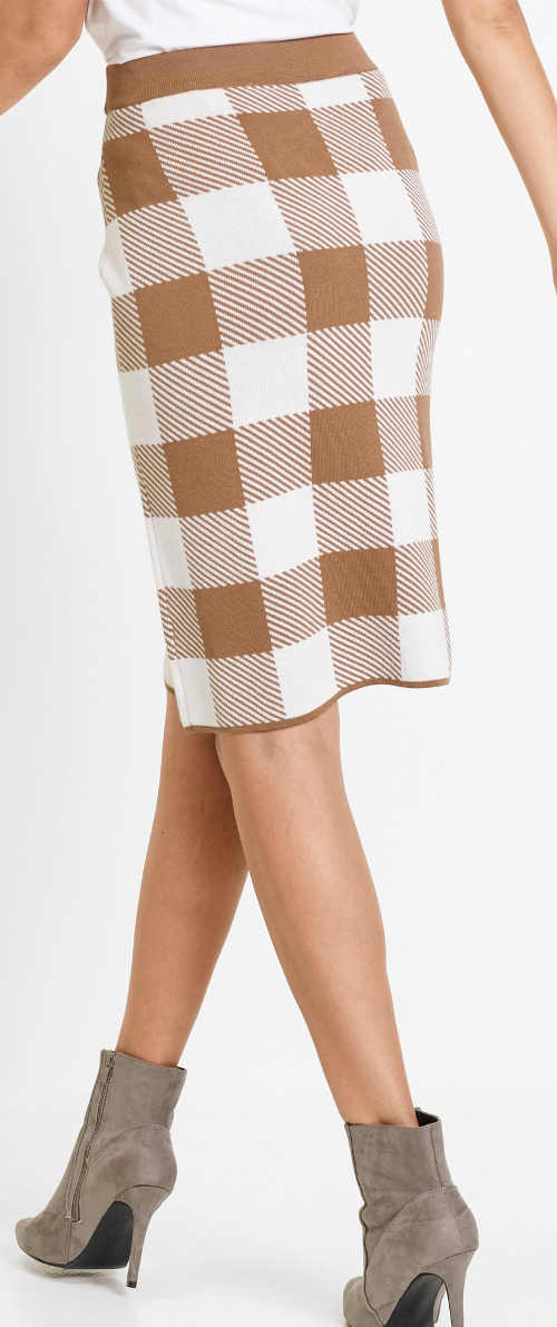 Hnědobílá karovana úpletová sukně