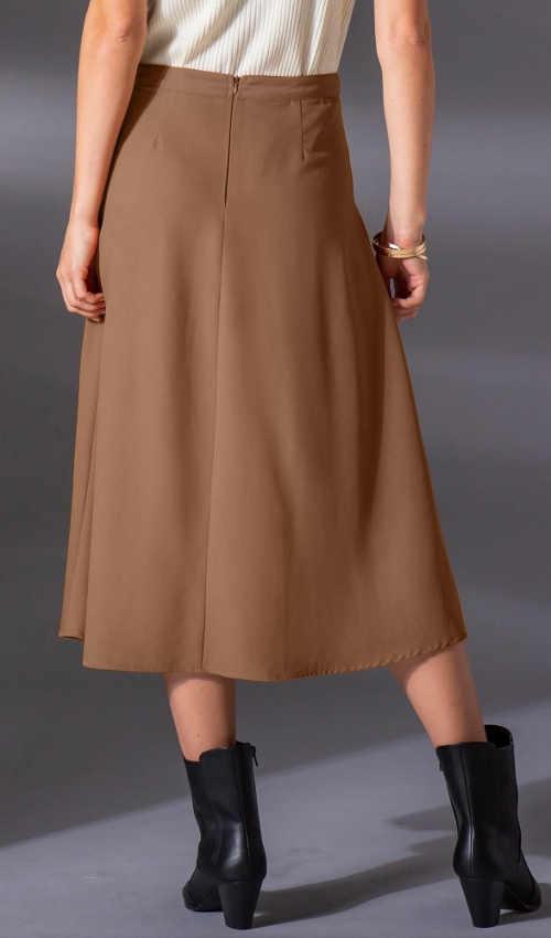 Jednobarevná hnědá plus size dámská sukně midi délky