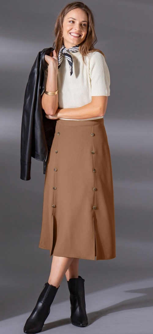 Kaštanová midi sukně s knoflíky