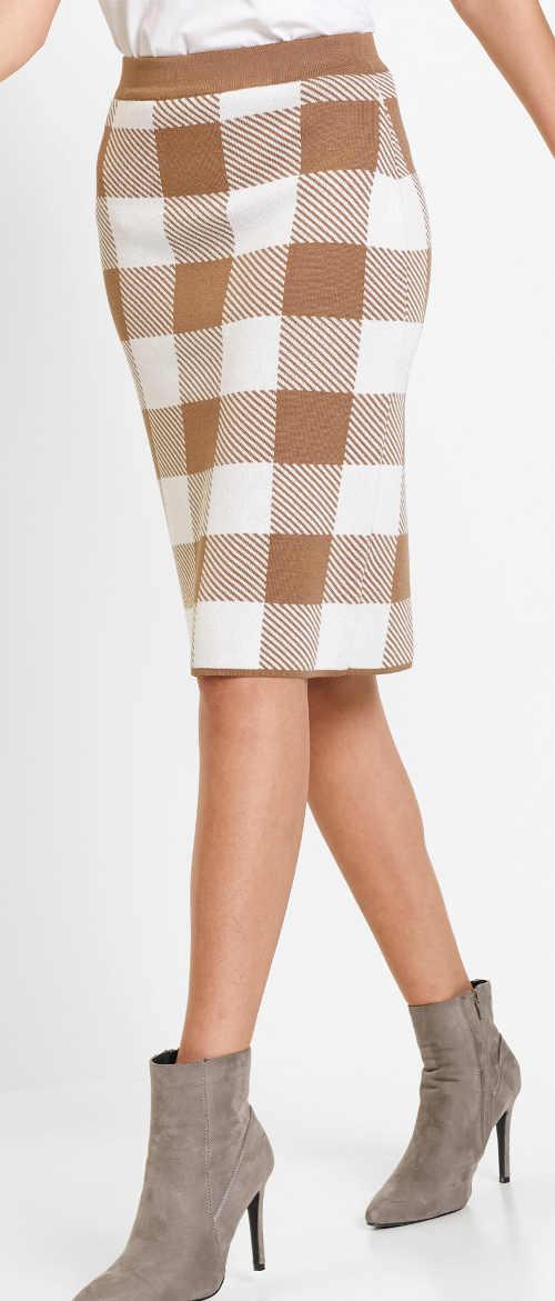 Pohodlná pletená kostkovaná minisukně