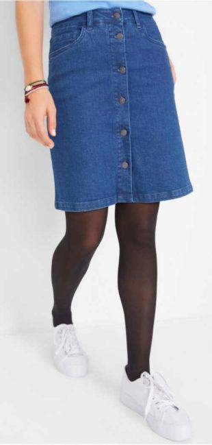 Strečová riflová sukně s knoflíky na předním díle