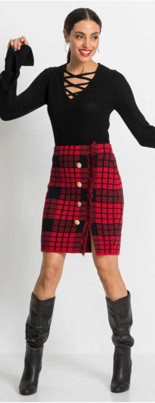 Úpletová kostkovaná sukně s třásněmi