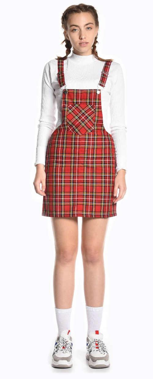 Károvaná dámská laclová sukně s kšandami