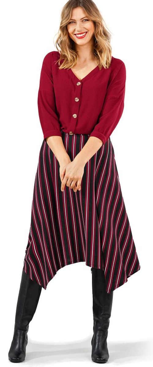 Asymetrická dámská sukně s pruhy