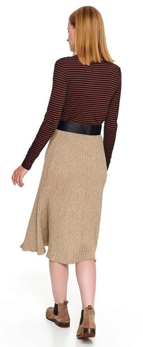 Béžová pletená midi sukně