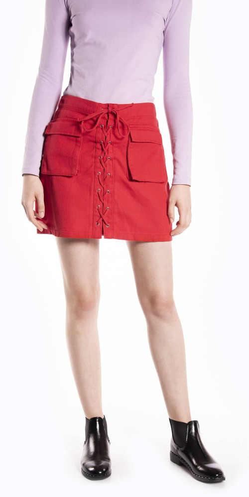 Dámská riflová sukně s vázačkou